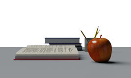 Apple on a desk Royalty Free Stock Photos