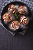 Apple dessert in the form of roses. vertical top view Royalty Free Stock Image