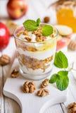 Apple dessert with ricotta, walnut, cinnamon and honey Stock Image