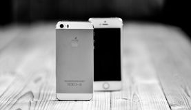 Apple, Devices, Black-and-white Stock Image