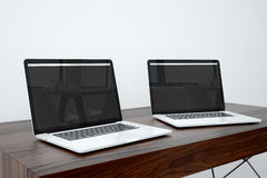 Apple Devices. In Office Setting Stock Photos