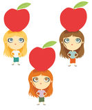 Apple diet. Funny image. Women and diets Royalty Free Stock Image