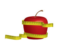 Apple diet. Apple with measuring tape, 3D illustration Royalty Free Stock Images