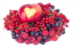 Apple with different heart  on white Royalty Free Stock Photo