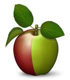 Apple. Digital illustration of an apple — one half red, the other half green Royalty Free Stock Photos
