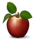 Apple. Digital illustration of a red apple with stem and leaves Stock Images