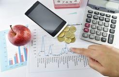 Apple, dinero, reloj, teléfono y calculadora colocados en el documento Imagen de archivo
