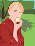 Apple of discord. Young pretty girl eating apple Royalty Free Stock Image