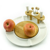Apple on plate. Apples on a white china fruit plate Royalty Free Stock Images