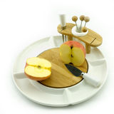 Apple on plate. Apples on a white china fruit plate Royalty Free Stock Photos