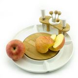 Apple on plate. Apples on a white china fruit plate Stock Photo