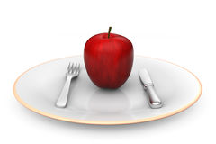 Apple on dish. 3D model of red apple served on dish Stock Photo