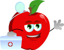 Apple doctor with first aid kit Stock Images