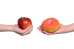Apple and Donut Royalty Free Stock Image