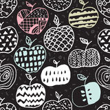Apple doodle seamless pattern Royalty Free Stock Images