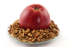 Apple and dried apple pieces. An apple lying on a glass plate with dried apple pieces Royalty Free Stock Images