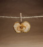 Apple dried  with a clothespeg Royalty Free Stock Photo