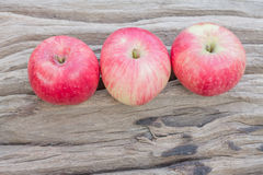 Apple on dry wood Stock Images