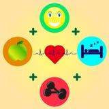 Apple, dumbbell, uśmiech i sen, royalty ilustracja
