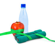 Apple and dumbbells Stock Photo