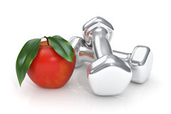 Apple and dumbells - Isolated Stock Photography