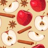 Apple e canela sem emenda ilustração do vetor