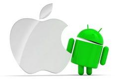 Apple e insignia androide Imagenes de archivo