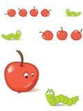 Apple e lagarta Imagem de Stock