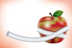 Apple e medida Fotografia de Stock Royalty Free