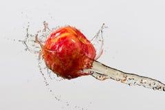 Apple e spruzzata di succo isolati su fondo grigio Fotografie Stock
