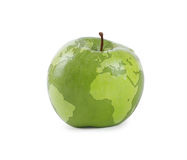 Apple earth. In a white background Stock Image