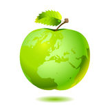 Apple Earth. Earth, as green beautiful apple with leaves and water drops. Vector Stock Photos