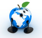 Apple-earth. Abstract Apple-earth, sign ecology (done in 3d Stock Images