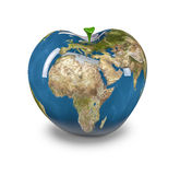 Apple Earth. 3D render of apple shaped Earth, Earth map texture source: cinema4dtutorial.net Stock Images