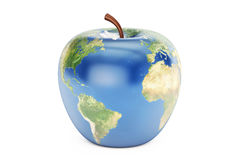 Apple earth, 3D rendering. On white background Royalty Free Stock Photos