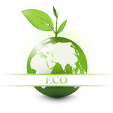 Apple earth with eco sign Stock Images