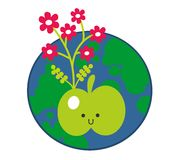 Apple and the Earth icon. Vector illustration Royalty Free Stock Photos