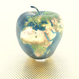 Apple with earth texture. 3D bright apple with earth texture Stock Images