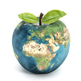 Apple earth. Earth textured apple  on white background Royalty Free Stock Photos