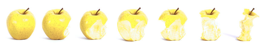 Apple eating sequence Royalty Free Stock Photography