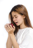 apple eating woman young Στοκ εικόνες με δικαίωμα ελεύθερης χρήσης