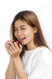 apple eating woman young Στοκ φωτογραφία με δικαίωμα ελεύθερης χρήσης