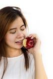 apple eating woman young Στοκ Φωτογραφίες