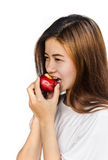 apple eating woman young Στοκ Εικόνα