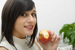 apple eating woman young Στοκ Εικόνες