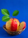 Apple in einem Korb Stockbild