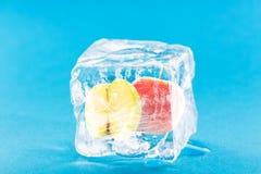 Apple eingefroren innerhalb des Eis-Würfels Lizenzfreies Stockfoto