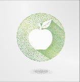 Apple Elementen voor ontwerp, Vectorappelillustratie Groen appelpictogram, ecologie en biovoedselconcept Stock Foto