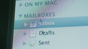 Apple Email client software mouse pointer over folders