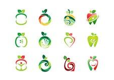 Apple-embleem, vers fruit, vruchten van het de aard vastgesteld pictogram van de voedingsgezondheid het symbool vectorontwerp Royalty-vrije Stock Afbeelding